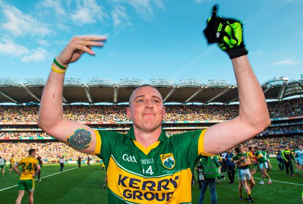 21 September 2014; Kieran Donaghy, Kerry, celebrates after the game. GAA Football All Ireland Senior Championship Final, Kerry v Donegal. Croke Park, Dublin. Picture credit: Ray McManus / SPORTSFILE