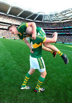 Kerry's Kieran Donaghy lifts his team mate James O'Donoghue, in the air after victory over Donegal in last year's All Ireland Football Final