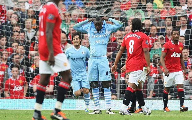 1. 23 Oct 2011, Man Utd 1-6 Man City Manchester United's heaviest home defeat for 56 years and the first time they had conceded six goals at Old Trafford since 1930. Mario Balotelli started the rout and United collapsed at the end, conceding three goals in the last few minutes. City went on to win the title. Picture: ACTION IMAGES