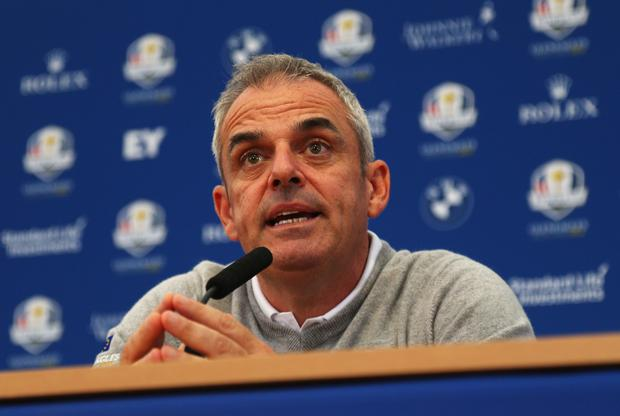 Paul McGinley, Captain of the Europe team talks during a press conference ahead of the 2014 Ryder Cup on the PGA Centenary course at the Gleneagles Hotel