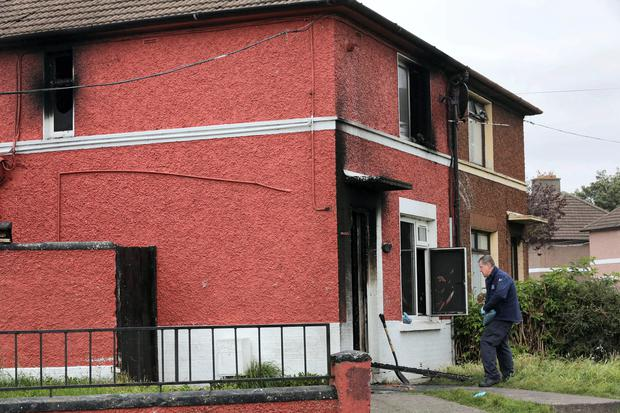 The scene of the fire at Captains Road Crumlin today.