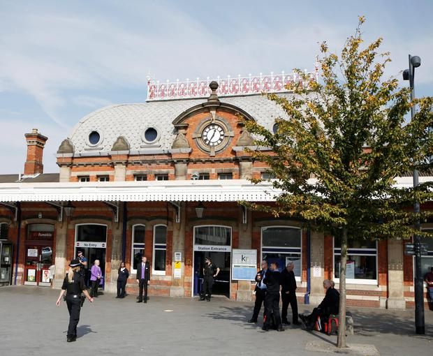The exterior of Slough train station as a woman and a child have died after being struck by a train at the station