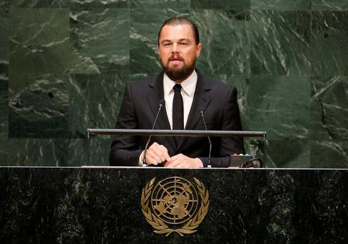 US actor and UN Messenger of Peace Leonardo DiCaprio speaks during the Climate Summit at United Nations Headquarters in New York, September 23, 2014.