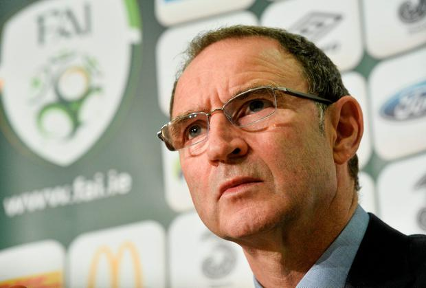 Martin O'Neill in thoughtful mood at yesterday's press conference. Photo: David Maher / SPORTSFILE