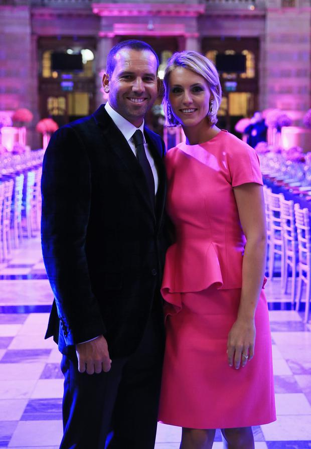 Sergio Garcia of Europe and Katharina Boehm pose during the 2014 Ryder Cup Gala Dinner at Kelvingrove Art Gallery and Museum on September 24, 2014 in Glasgow, Scotland. (Photo by David Cannon/Getty Images)