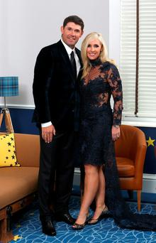 Padraig Harrington and his wife Caroline Harrington pose for a photograph at the Gleneagles Hotel before leaving for the Ryder Cup Team Gala Dinner on September 24, 2014 in Auchterarder, Scotland. (Photo by Ross Kinnaird/Getty Images)