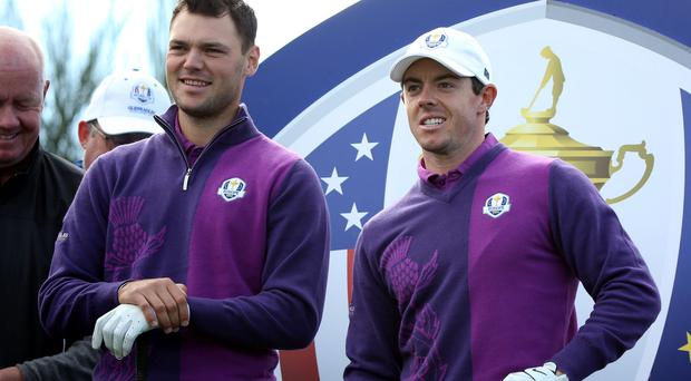 Europe's Rory McIlroy (right) with Martin Kaymer during a practice session at Gleneagles