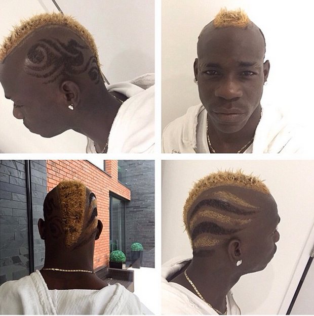 Mario Balotelli shows off his new hairstyle