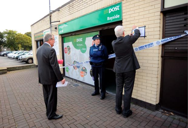 Bayside Post office as staff erect a notice