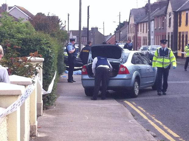 Gardai at the scene of the shooting in Balbriggan today