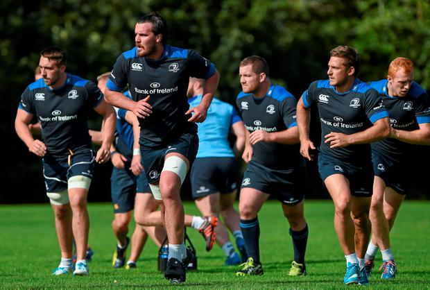 Kane Douglas is put through his paces amongst new Leinster team-mates at training this week