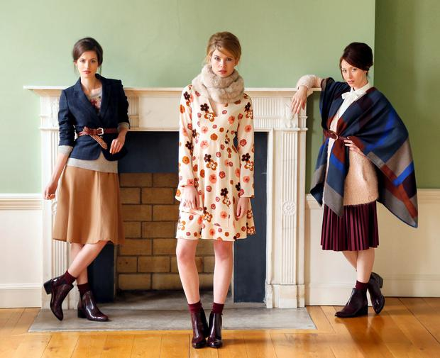Pictured at the launch of the Marks & Spencer Autumn Winter 2014 Collection at the Irish Architectural Archive are Isabelle Traber, Eve Connolly & January Russell-photo Kieran Harnett Isabelle Traber