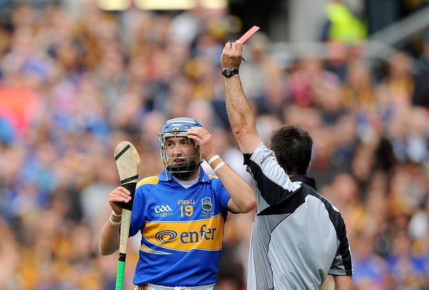 Tipperary's Benny Dunne is sent off in the 2009 All-Ireland final