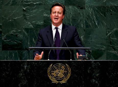 British Prime Minister David Cameron announces that the UK will join the air campaign against ISIL as he addresses the 69th United Nations General Assembly at the UN headquarters in New York. Reuters