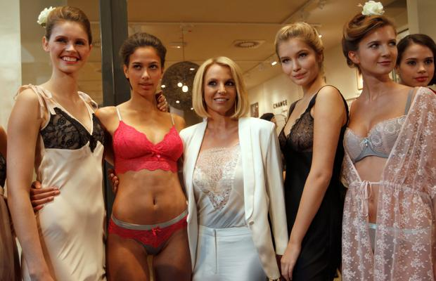 Singer Britney Spears (C) and models at the launch of her lingerie collection in Germany. Reuters/Ina Fassbender