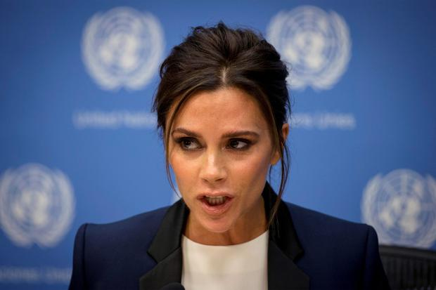 Victoria Beckham attends a news conference at the United Nations headquarters in New York. Reuters/Brendan McDermid