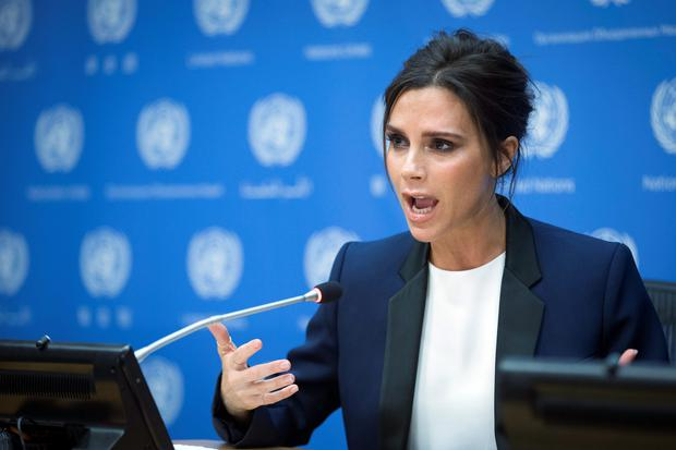 Fashion designer Victoria Beckham speaks during a news conference announcing her as a United Nation's Goodwill Ambassador during the 69th U.N. General Assembly at U.N. headquarters. (AP Photo/John Minchillo)