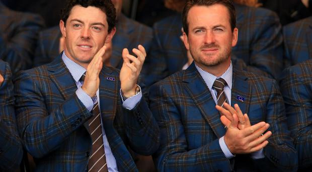 Europe's Rory McIlroy (left) and Graeme McDowell during the opening ceremony at Gleneagles