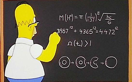 In one of many mathematical gags, Homer's second equation appears to disprove Fermat's last theorem Photo: Fox