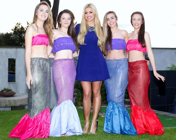 Rosanna Davison pictured with mermaids Emily Brazzill, Hannah Scully, Holly Rossiter and Aoife Howell as SeaSpa at Kelly's Resort at their 10th birthday party celebrations