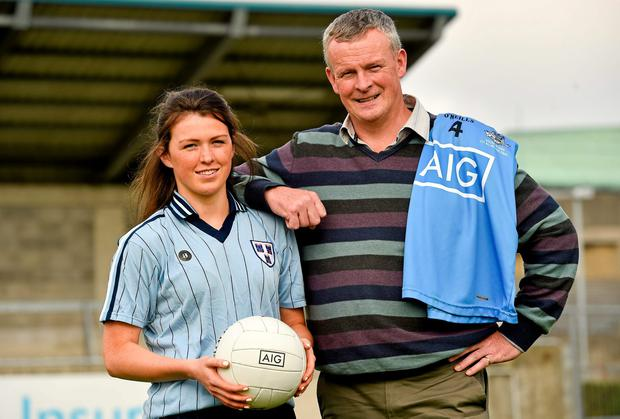 Dublin ladies star Leah Caffrey with her father John, an All-Ireland winner in 1983, ahead of the women's final