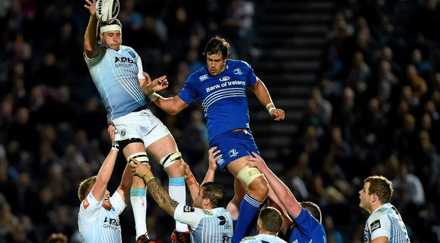 Chris Dicomidis, Cardiff Blues, takes possession in a lineout ahead of Mike McCarthy, Leinster