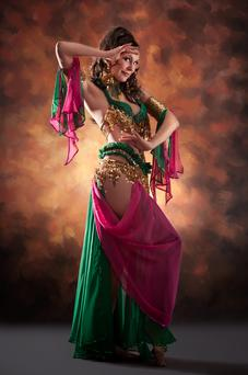 A traditional belly dancer