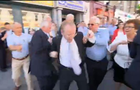 Frank Feighan during the incident as captured by RTE