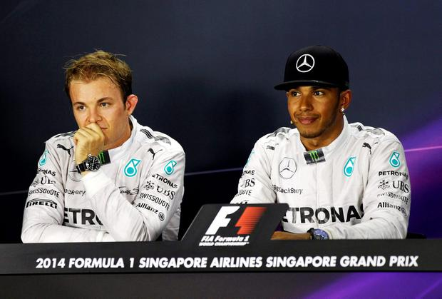 Mercedes Formula One drivers Nico Rosberg and Lewis Hamilton