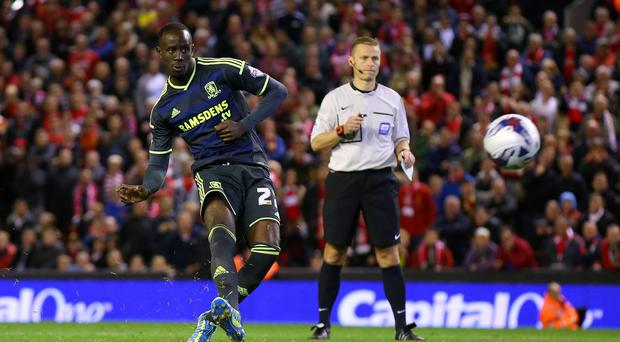 Albert Adomah of Middlesbrough misses his penalty during the Capital One Cup Third Round match between Liverpool and Middlesbrough