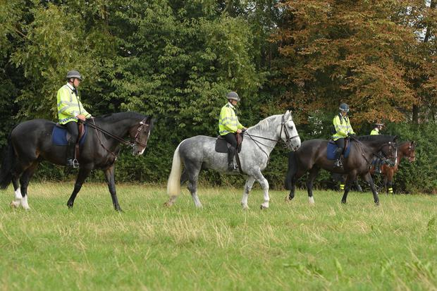Horse mounted police search a section of wasteland between the river Brent and Elthorne Park near to Trumpers Way, Hanwell for missing teenager Alice Gross as detectives investigating the disappearance have received 150 phone calls following a reconstruction of her last known movements