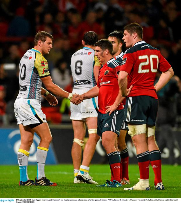 Dan Biggar, Ospreys, and Munster's Ian Keatley exchange a handshake after the game. Guinness PRO12, Round 4, Munster v Ospreys. Thomond Park, Limerick
