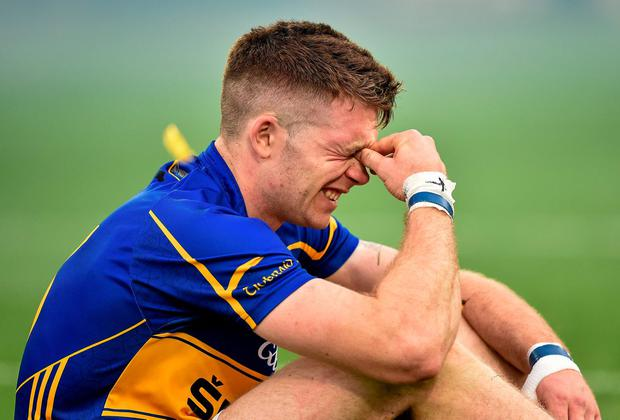 Tipperary's Padraic Maher shows his dejection after the game. Brendan Moran / SPORTSFILE