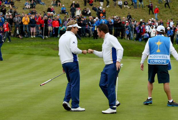 Victor Dubuisson and Graeme McDowell proved to be a potent force for Europe in yesterday afternoon's foursomes. Mike Ehrmann/Getty Images