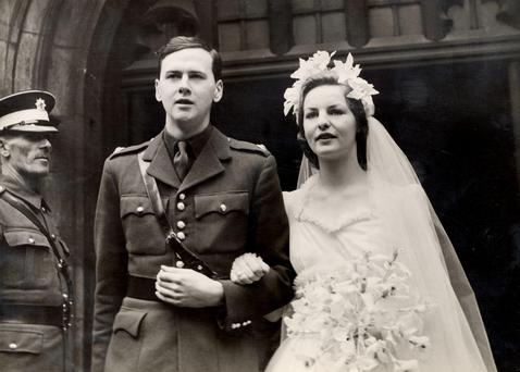 Last Duchess: Andrew Cavendish and Deborah Mitford - the last of the famous Mitford sisters, who has died at the age of 94 — on their wedding day in 1941.