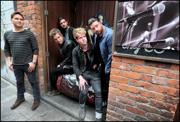 Jonny Quinn from 'Snow Patrol' and 'Kodaline' band members (from left) , Mark Prendergast, Jason Boland,Steve Garrigan and Vinny May at the launch of 'Guinness Amplify', a major new music programme supporting emerging talent in Ireland