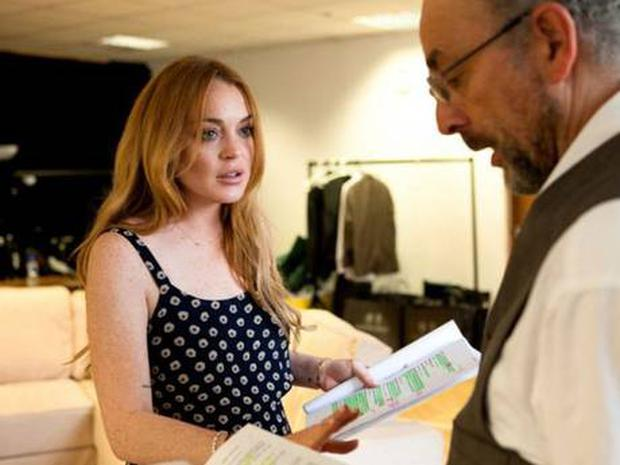 Lindsay Lohan with Richard Schiff in rehearsal for 'Speed-the-Plow'