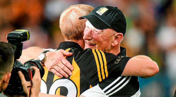 Record breakers... Brian Cody is embraced by Henry Shefflin after Kilkenny's victory over Tipperary on Saturday. Photo: Ray McManus / SPORTSFILE