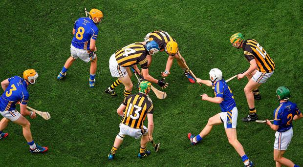 Kilkenny and Tipperary players battle for possession during the All-Ireland hurling final replay at Croke Park. Photo: Pat Murphy / SPORTSFILE