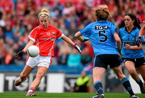 Cork's Valerie Mulcahy in action against Dublin players, from left, Sinead Finnegan, 5 and Sinead Goldrick. Brendan Moran / SPORTSFILE