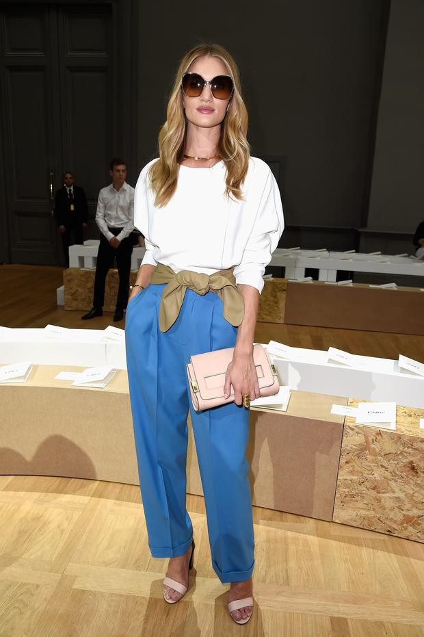 Rosie Huntington-Whiteley attends the Chloe show as part of the Paris Fashion Week Womenswear Spring/Summer 2015