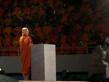 Buddhist monk Ashin Wirathu, leader of the 969 movement, delivers a speech during a convention held by the Bodu Bala Sena (Buddhist Power Force, BBS) in Colombo. Reuters/Dinuka Liyanawatte
