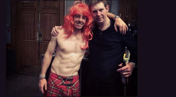 Rory McIlroy and Stephen Gallacher pose for a picture during the Ryder Cup celebrations