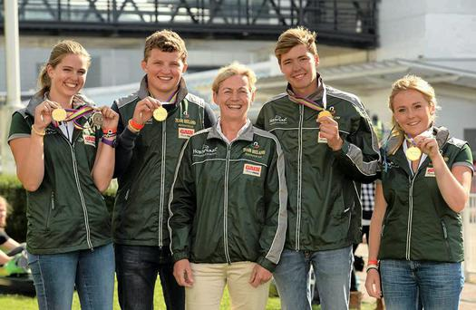 The Irish team, which included Elizabeth Hayden, Josh Pim, Harold Megahey and Jodie O'Keeffe, accompanied by their chef d'equipe Sally Corscadden, won team gold at the European Young Rider Eventing Championships in Portugal.