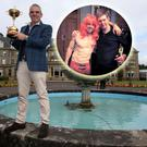 Paul McGinley holds the Ryder Cup trophy outside the Gleneagles Hotel. Inset, Rory McIlroy and Stephen Gallacher celebrate
