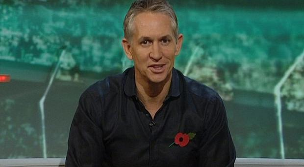 Match of the Day host Gary Lineker in front of the 70ft backdrop in 2010