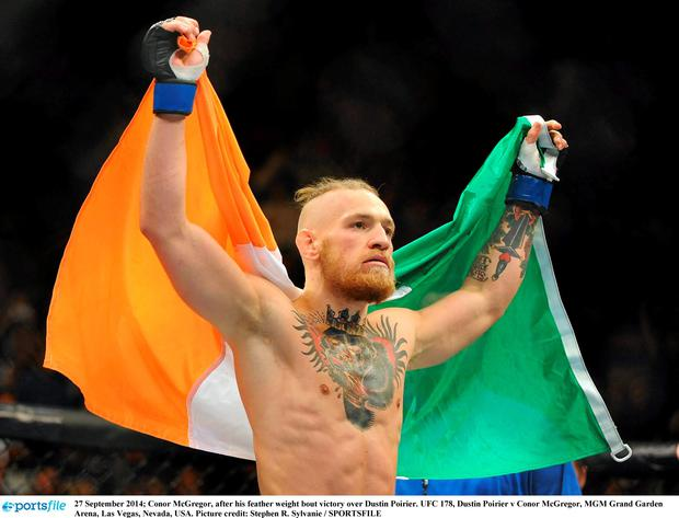 Conor McGregor, after his feather weight bout victory over Dustin Poirier. UFC 178, Dustin Poirier v Conor McGregor, MGM Grand Garden Arena, Las Vegas, Nevada, USA. Picture credit: Stephen R. Sylvanie / SPORTSFILE