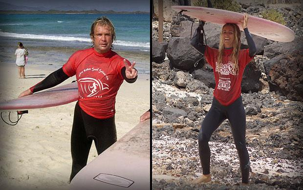 The Waverider surfing instructors, Nathan and Tahila