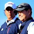 Phil Mickelson (left) made a considered decision to brutally blame his outgoing captain Tom Watson. Photo: Harry How/Getty Images
