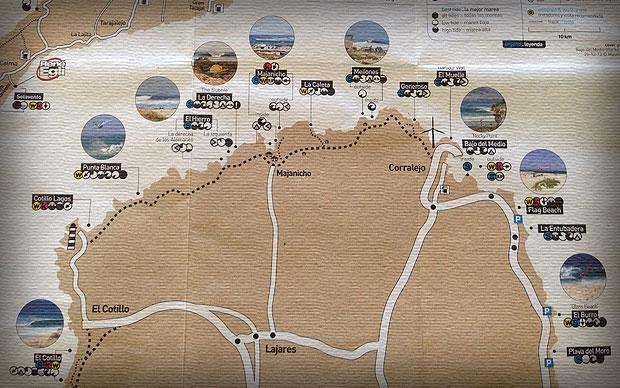 A map of Fuerteventura's north shore surfing locations. <a href=